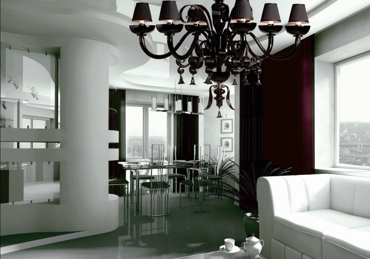 A sophisticated touch - #soiree Collection #glass #chandelier #andromeda #murano #luxury #elegance #black #design