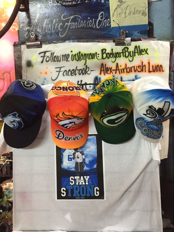 Come get ur #customized #Airbrush #snapback #Artistic #playoffs #hat of ur favorite #football #team this weekend. Or get em #airbrushed on #shirts #shoes #hoodies or any item. We will do #Packers #Colts #Cowboys #Broncos #Chargers #Patriots, don't matter. Our homie #Tron rest in peace, in the background of my pic. Check us out at #Pasadena #mall