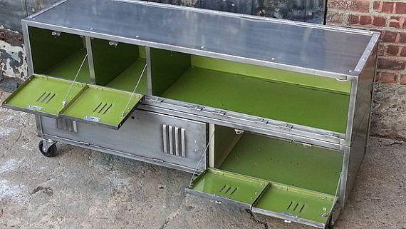 Vintage Repurposed Steel Locker Console Cabinet by LockerSteel ($1445)