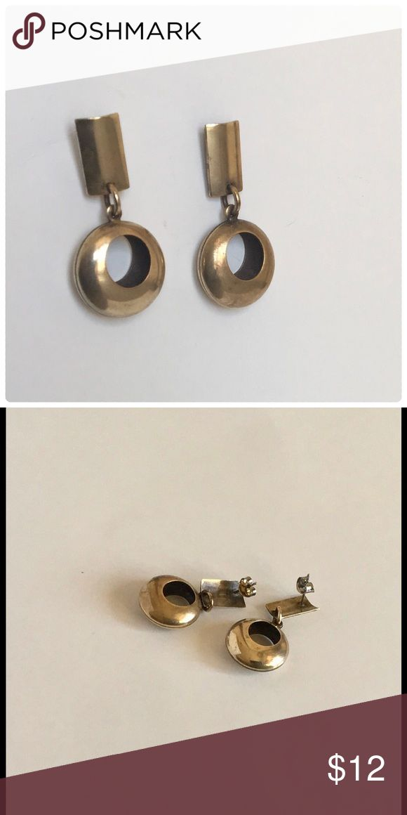 """Rustic Elegance Earrings Bundle to Save $ A cute and dimensional earring made with metal consisting of a rectangular shape with a dangle cut from two discs placed front to back. Approx. measurements: width  3/4""""  Length 1 3/8"""" Backing: Post Metal color: Brass Jewelry Earrings"""