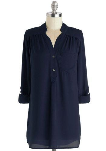 Pam Breeze-ly Tunic in Navy - Blue, Solid, Buttons, Pockets, Casual, Long Sleeve, Best Seller, Button Down, V Neck, Variation, Beach/Resort,...