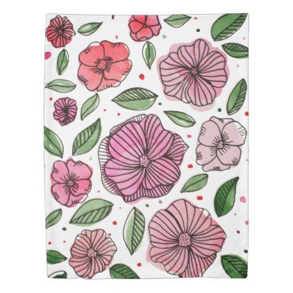 Watercolor and ink flowers  pink and green duvet cover - spring gifts beautiful diy spring time new year