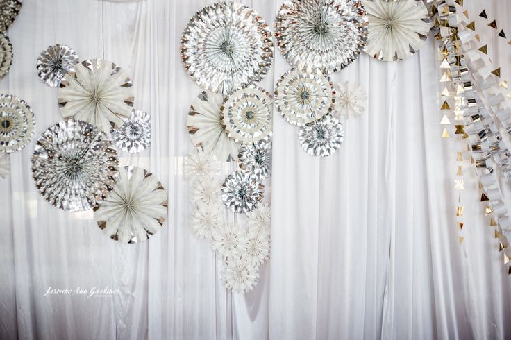 DY.o events (aka Duo)  Winter Wonderland event styling. Silver and white backdrop installation.