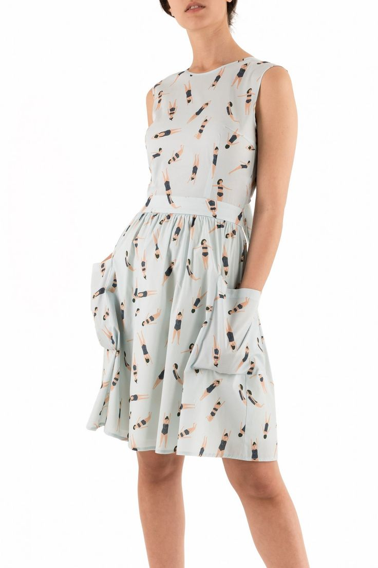 Abito con nodo sulla schiena - illustrazioni di Kate Pugsley Abbigliamento Donna Made in Italy
