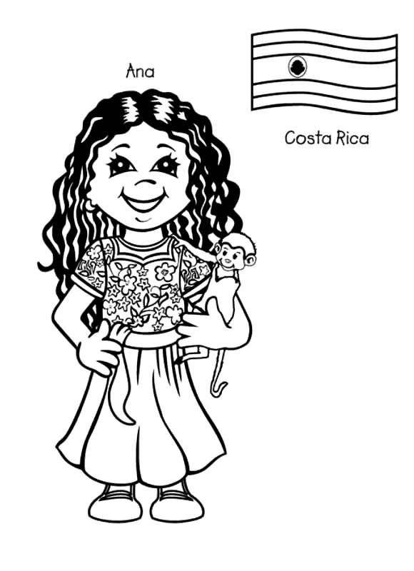 costa rica dresses coloring pages | Kids Around The World Coloring Pages…