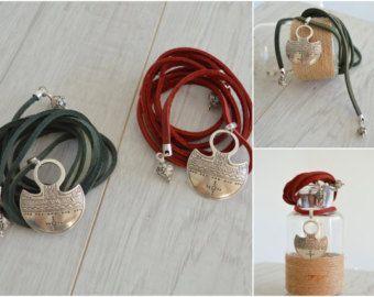 Leather Choker Necklace with SHARK or WOLF by WalktheTalkJewelry