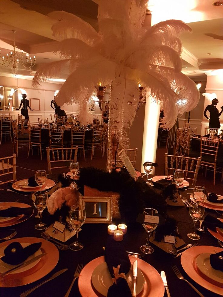 The Great Gatsby- table setting. Lighting by Urban Entertainment