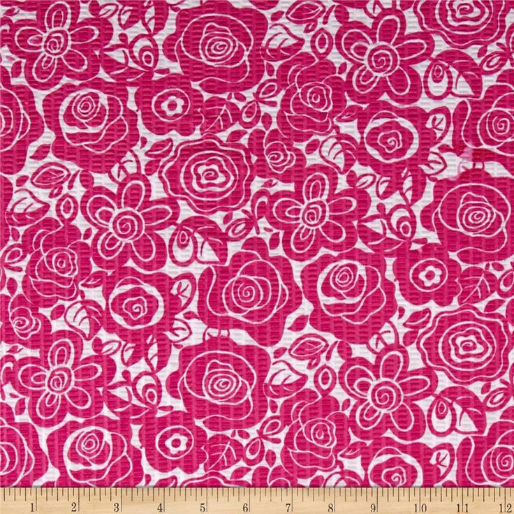 Tutti Frutti Plisse Flowers Fuchsia from @fabricdotcom  Plisse has a puckered finish given to fabric. This poly/cotton plisse fabric will be comfortable to wear and perfect for blouses, dresses, skirts and kids clothing. In warmer climates, it is also appropriate for lightweight pants or shorts.