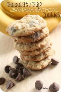 Six Sisters Chocolate Chip Banana Oatmeal Cookies Recipe.  A great way to use up those ripe bananas!