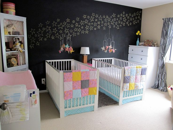 Not having twins, but the wall idea is very interesting..