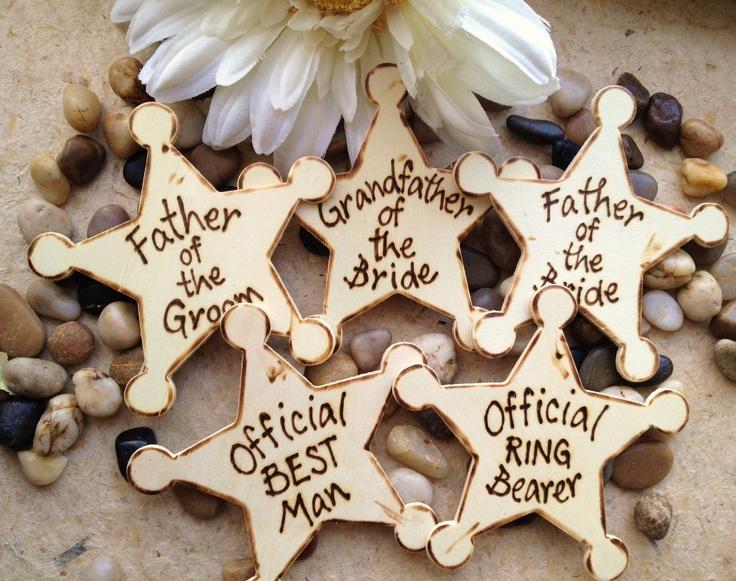 @Amanda Breighner.. For John hehe.   Set of 6 Wedding Gifts for Men Father of Bride and Groom Grandfather Nephew Ring Bearer Best Man Groomsman Usher Rustic Wedding Badges. $52.99, via Etsy.