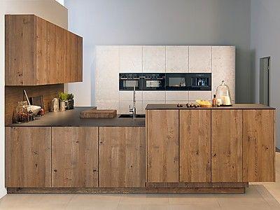 Hochwertige grifflose Küche Forum 3-Schicht Alteiche mit Metal LUX Weißgold - zeyko