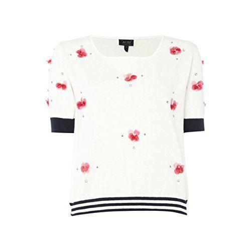 (アルマーニジーンズ) Armani Jeans レディース トップス ニット Armani Jeans Short sleeve embellished cropped jumper 並行輸入品  新品【取り寄せ商品のため、お届けまでに2週間前後かかります。】 カラー:ホワイト 素材:-