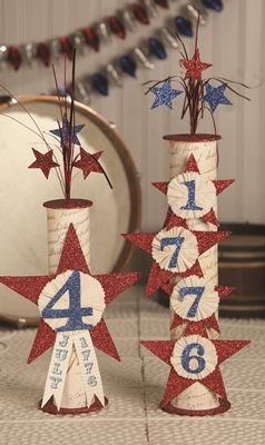 Firecracker 4th of July. This could be made with Paper Towel rolls, scrap booking paper, Glitter and 4th of July picks from Michaels.