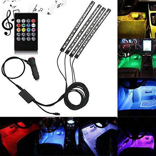 Car LED Strip Light, DLAND Multicolor Music Car Interior Lights with 4pcs 48 LEDS, Music LED Lighting Kit Underdash Lighting Kit with Sound Active Function and Wireless Remote Control. #Strip #Light, #DLAND #Multicolor #Music #Interior #Lights #with #LEDS, #Lighting #Underdash #Sound #Active #Function #Wireless #Remote #Control.