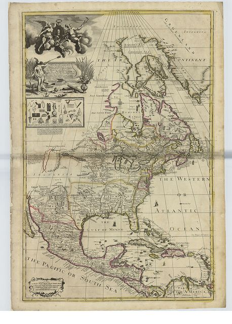 "Decorative map of North America, 1715  Map of North America by George Willdey.  The map shows an ornate decorative title and dedicatory cartouche with portrait of George I supported by classical figures in top left corner.    Includes advertisement to George Willdey's ""Great Toy Shop"" with engraved pictures of the nécessaires, implements and scientific instruments sold there."