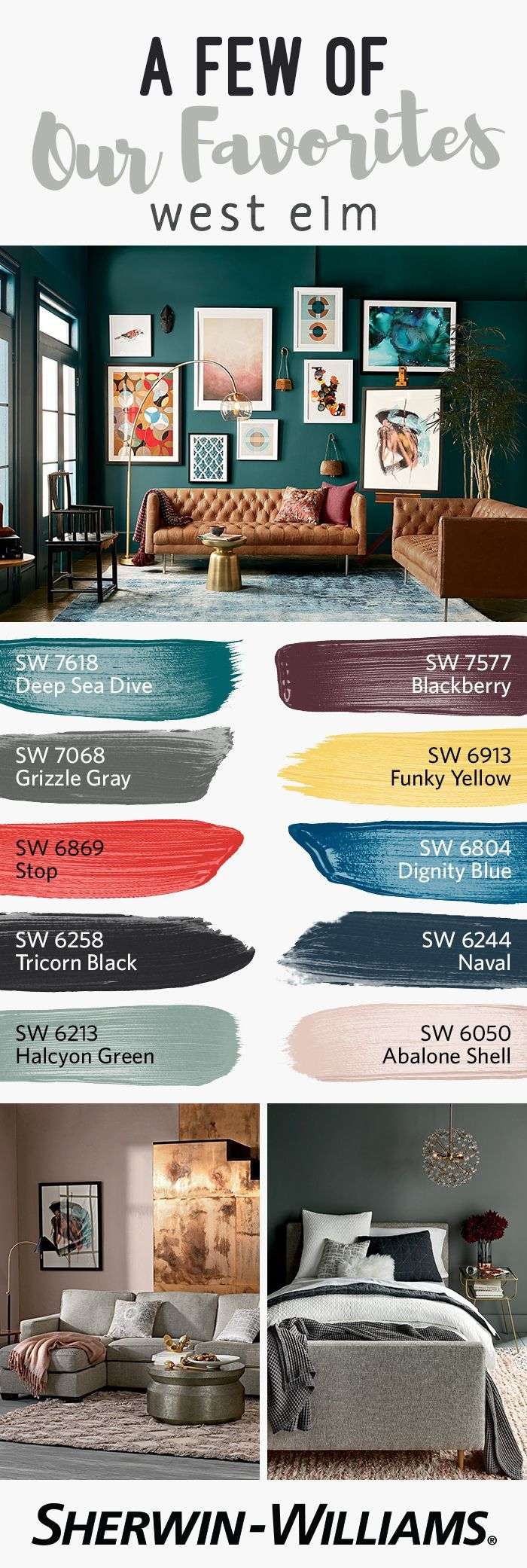 Our Fall/Winter 2016 paint palette from @westelm is a refreshingly crisp take on seasonal colors that is sure to inspire. This versatile palette makes it easy for you to coordinate with the latest collections of furniture, bedding and home decor. Pick an elegant neutral like Grizzle Gray SW 7068 or Abalone Shell SW 6050, then add bold accents throughout your home with statement colors like Stop SW 6869, Funky Yellow SW 6913 or Dignity Blue 6804.
