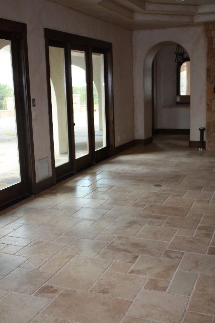 Travertine floors - beautiful - looking forward to my updated entry way & hearth with this & hardwood!!!