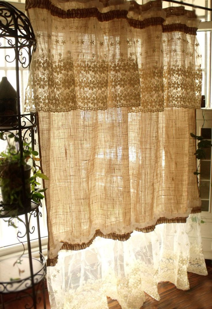 layered shabby washed rustic chic burlap shower curtain lace ruffles flower french beach. Black Bedroom Furniture Sets. Home Design Ideas
