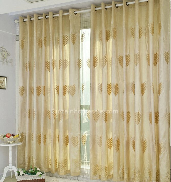 Superb Fabulous Leaf Patterns Embroidery Bedroom Blackout Yellow Gold Curtains