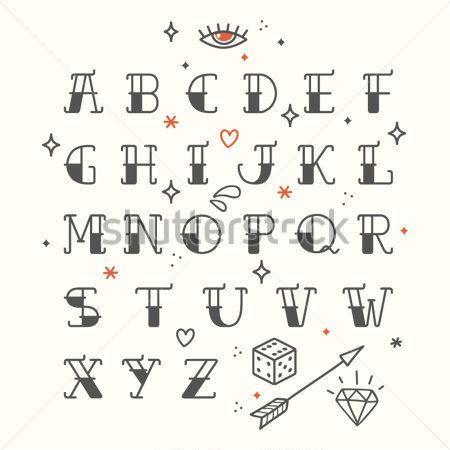 Cartel del tatuaje estilo fuente alfabeto condensada Letras redondeadas, negro. Elementos de la vieja escuela del tatuaje. Tatuaje de letras, alfabeto. Fuente estándar para el diseño web, gráfico, impresión o publicidad.