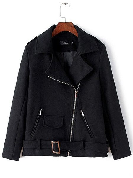 Black Wool-Like Trench Coat Jacket