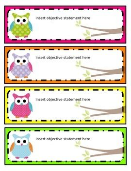 These editable bright owl name tags can be used for just about anything, including typing and posting objectives on your board, creating a classroom schedule, pocket chart cards, desk tags, etc. They are designed to match my bright owl classroom decor and Common Core Standards cards.