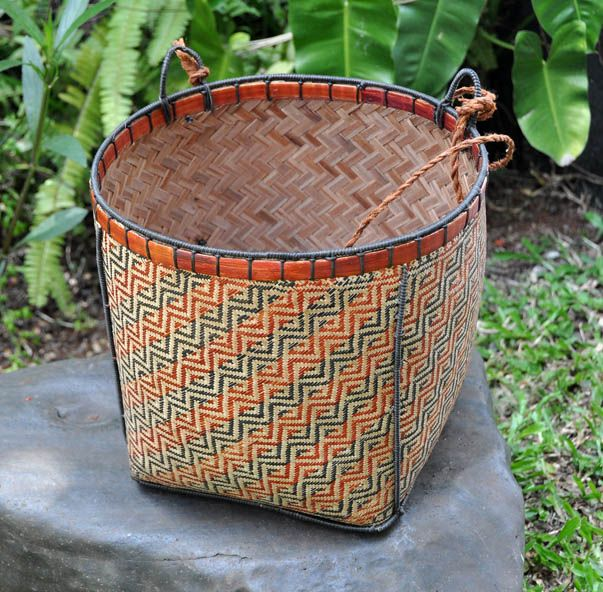 Natural dye, woven bamboo basket from West Kalimantan. theartisanstablestore.com