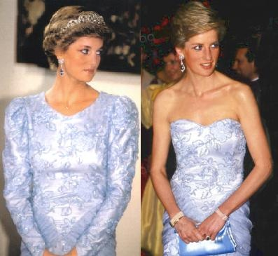 Pale-blue and lace Catherine Walker evening dress before and after