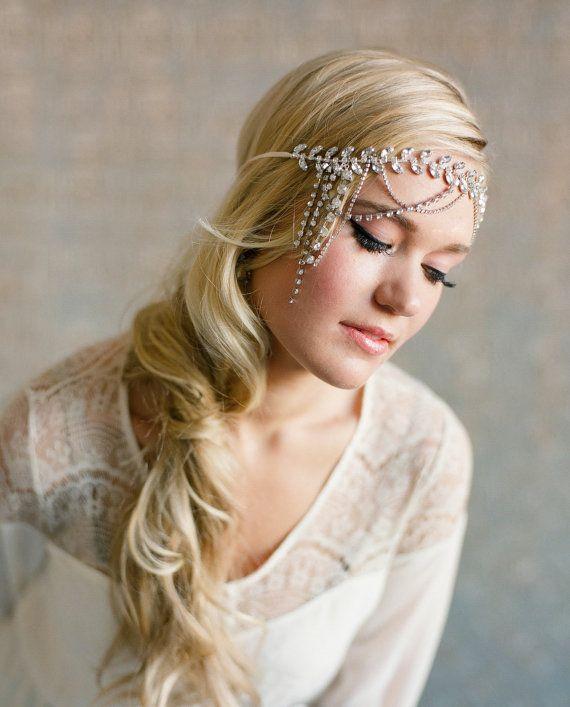 Crystal Leaf Halo Headband, flapper headpiece bandeau sparkle rhinestone princess bohemian 1920 vintage beach wedding forehead woodland 206