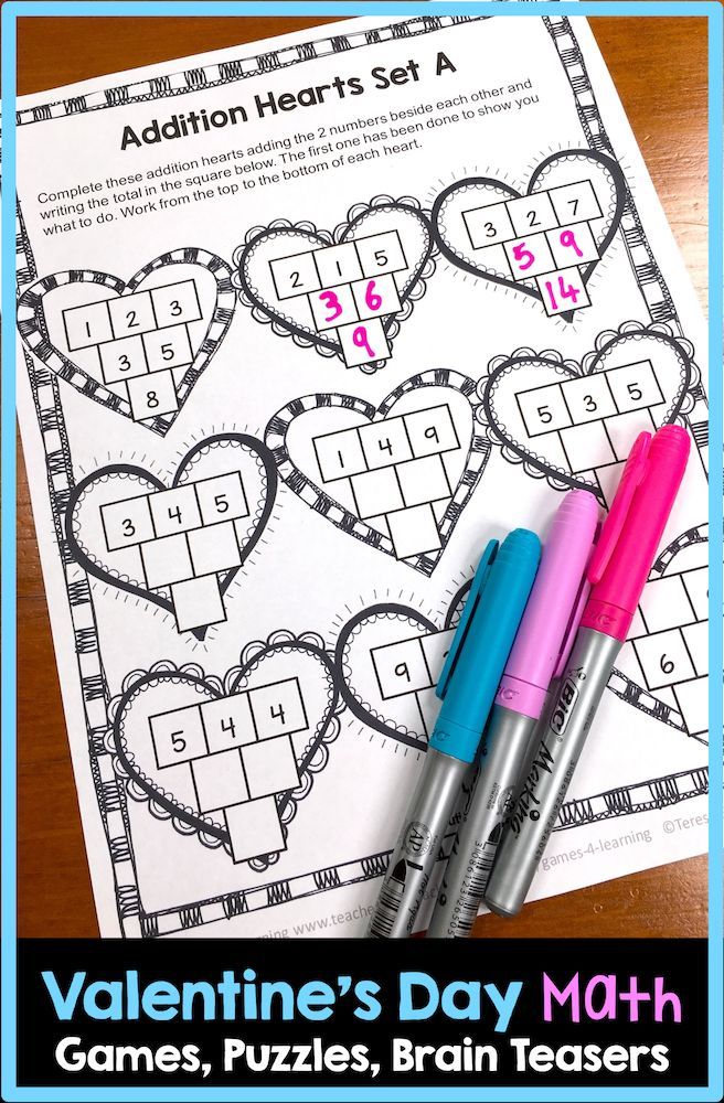 Valentine's Day math puzzle sheet - from Valentine's Day Math Games, Puzzles and Brain Teasers #mathpuzzles #valentinesdaymath #valentinesmath #mathcenters #mathcenter #mathactivities #thirdgrade #secondgrade