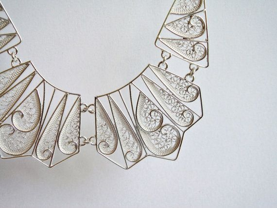 Geometric Silver Collar Necklace / by SusanaTeixeiraJewels on Etsy