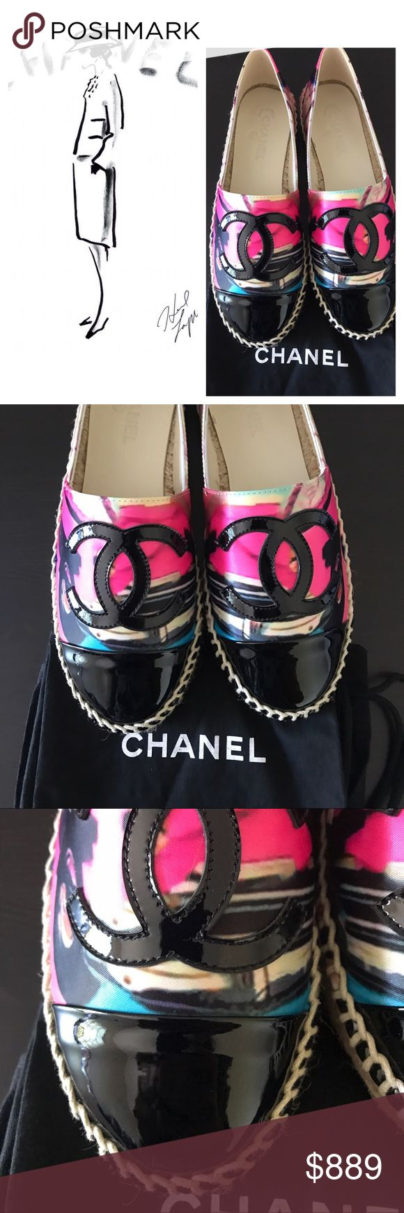 Chanel Cruise Series Espadrilles New Chanel Cruise Pink fabric and black patent leather Espadrilles. Size 37. Made in Spain. Great for a summer time. Cute and bright colors! Comes with 2 Chanel dust bags. NO Box. 🍭Price firm here.✅Price lower on our site👆Check my profile.💄 CHANEL Shoes Espadrilles