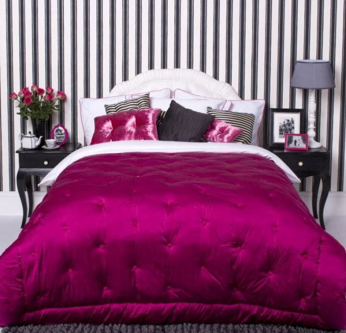 Hot Pink And Black Bedroom Idea. Glamorous Bedroom Design With Black And  White Pinstripe Wall And Fuchsia Bedspread. Part 66