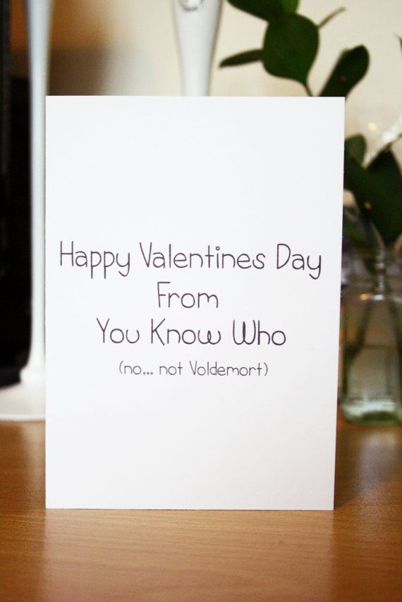 Funny 'From You Know Who No...not Voldemort' Harry Potter Valentines Day Card by SheMakesSheBakes