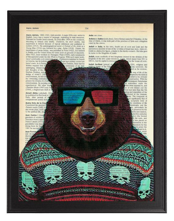 Bear in 3D glasses - vintage dictionary animal artwork, Bear Wall Decor, Bear Hipster Art Print, Animal Bear Painting, Nursery Wall Art on Etsy, $10.48