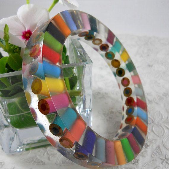 Colored Pencil Resin Bracelet by Mice Art #Etsy