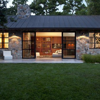 Fieldstone Guest Cottage, Sonoma, CA. Exterior Stone Façade, Metal Roof, Modern Steel Sliding Doors | Yelp