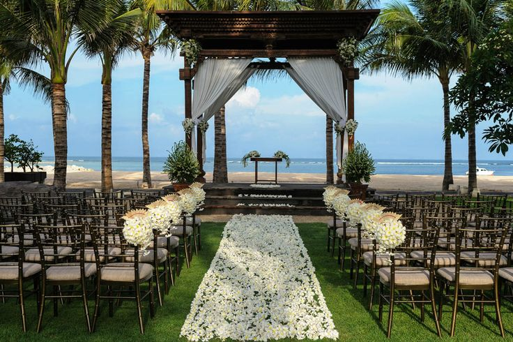 Fresh rose petal aisle, beautifully draped ceremony pavilion, Tiffany chairs, alter flowers and standing floral arrangements. We include all of this in your wedding package.