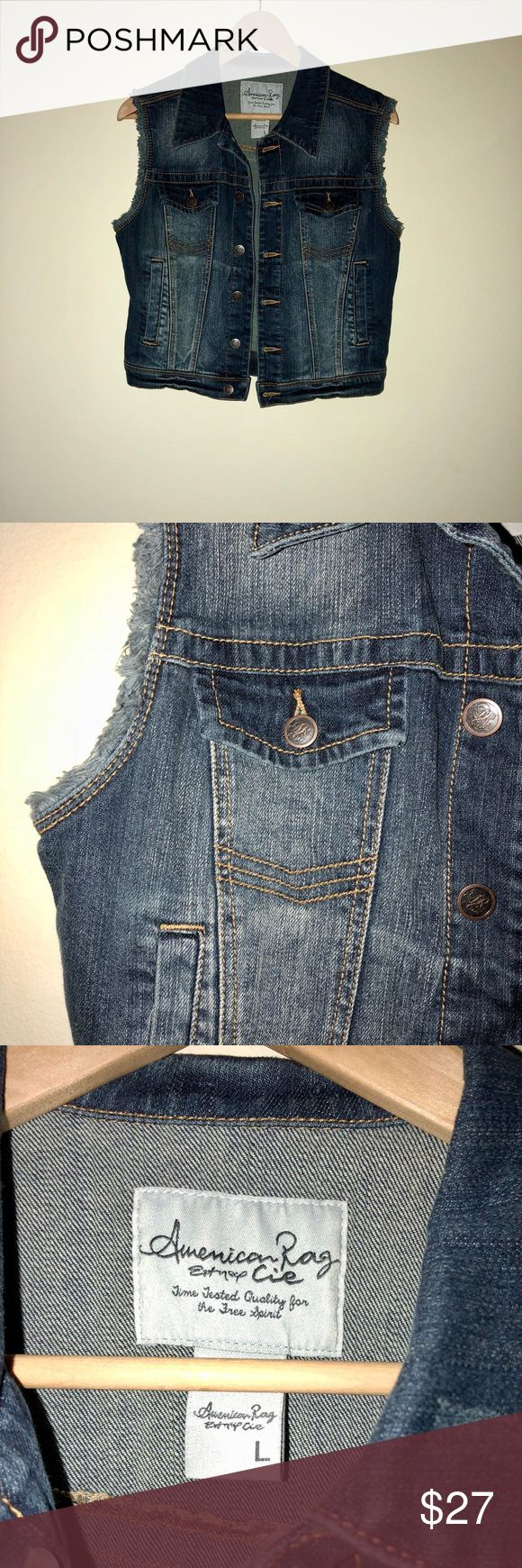 American Rag Jean Jacket Vest Jean jacket vest by American Rag. Never worn! This piece is super versatile. Wear it in every season! Pair with a sundress and sandals in the heat or a sweater dress in the cold! American Rag Jackets & Coats Vests