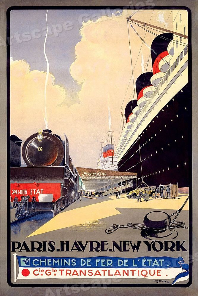 Paris to New York Classic 1920s Vintage Style Travel Poster 24x36