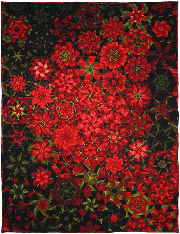"= free pattern = Poinsettia Millefiori Quilt, 44""x59"", by Marinda Stewart  for Michael Miller Fabrics"