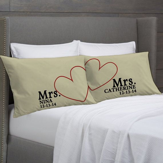 MRS and MRS Personalized Pillowcases Lesbian Couple by eugenie2