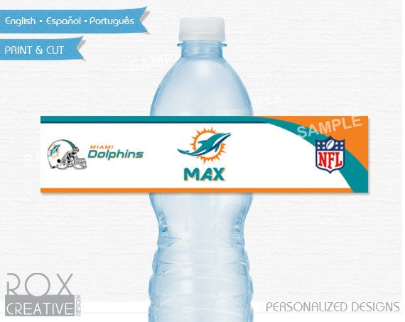 Miami Dolphins Party Water Labels, Dolphins Printable Labels, Digital – Customized by RoxCreativeDesign on Etsy