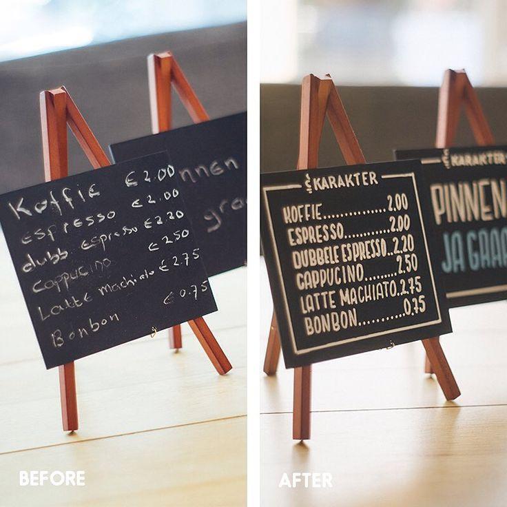 Een krijtbord kan echt een verschil maken in je winkel/restaurant. Dat laat deze #beforeandafter goed zien. Getekend bij koffie & thee winkel Karakter. #handlettering #chalkboard #krijtbord