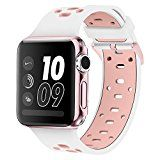 Band for Apple Watch 38mm Alritz [Patent Pending] Silicone Sport Straps Replacement Wristband Bracelet with Free Protective Cover for Apple Watch Nike Series 2 Series 1 Sport Edition White/Pink
