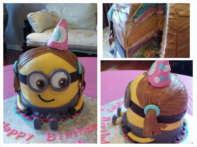 Anna's cake creations!  Girl Minion rainbow colored cake. Fun inside and out!