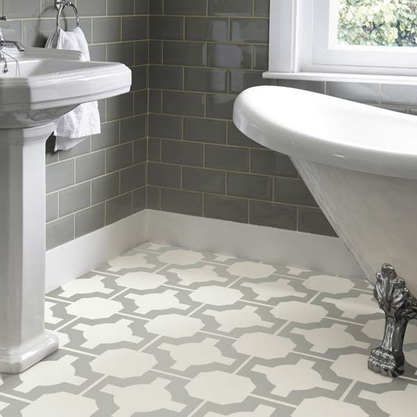 Celtic floor pattern in a bathroom vinyl flooring Harvey Miller UK, free delivery anywhere in UK