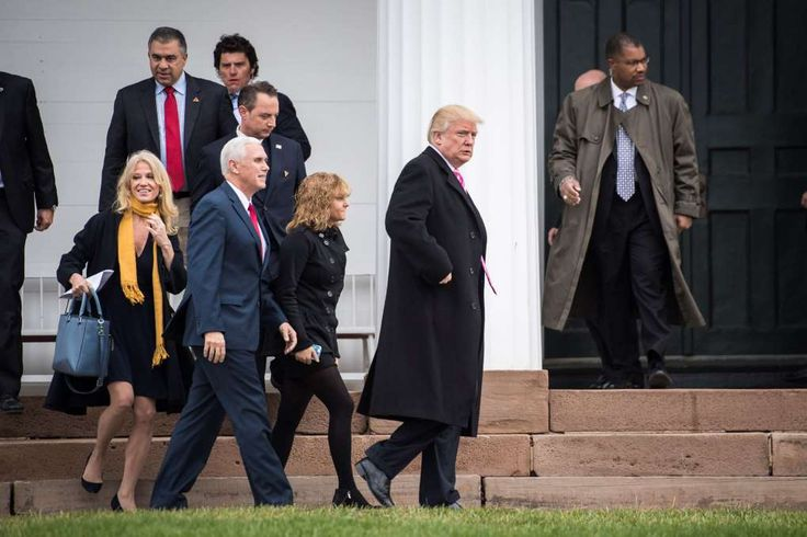 Conway with Mike Pence, Charlotte Pence, Reince Priebus and Donald Trump outside Lamington Presbyterian Church after attending services in Bedminster Township, N.J., in late November.
