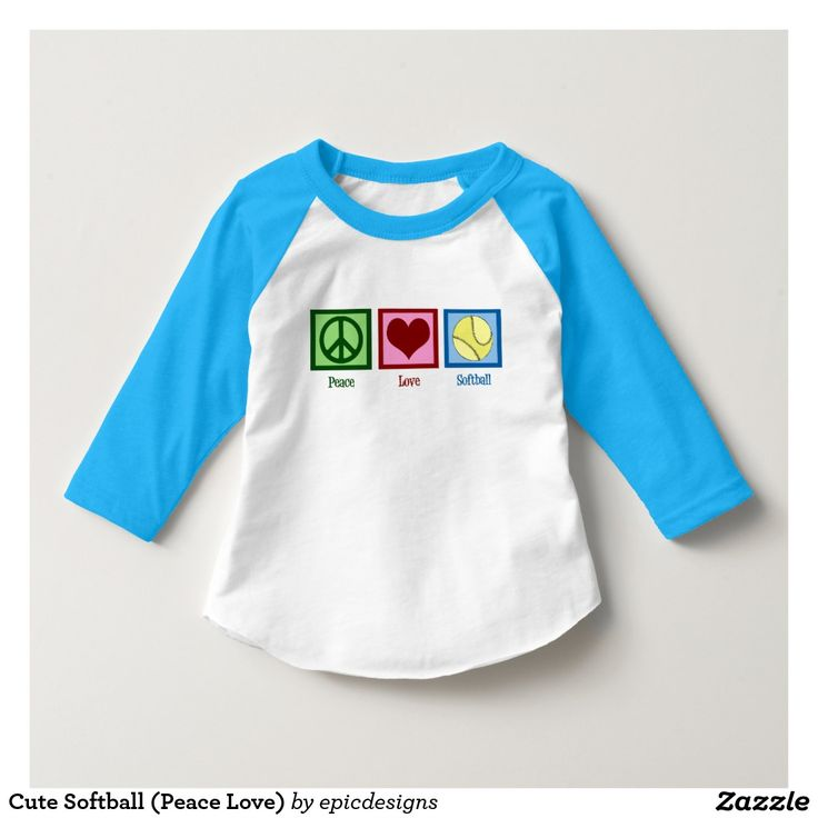 Cute Peace Love Softball Kids 3/4 Sleeve Raglan Shirt by American Apparel. Cute softball tee for a child!